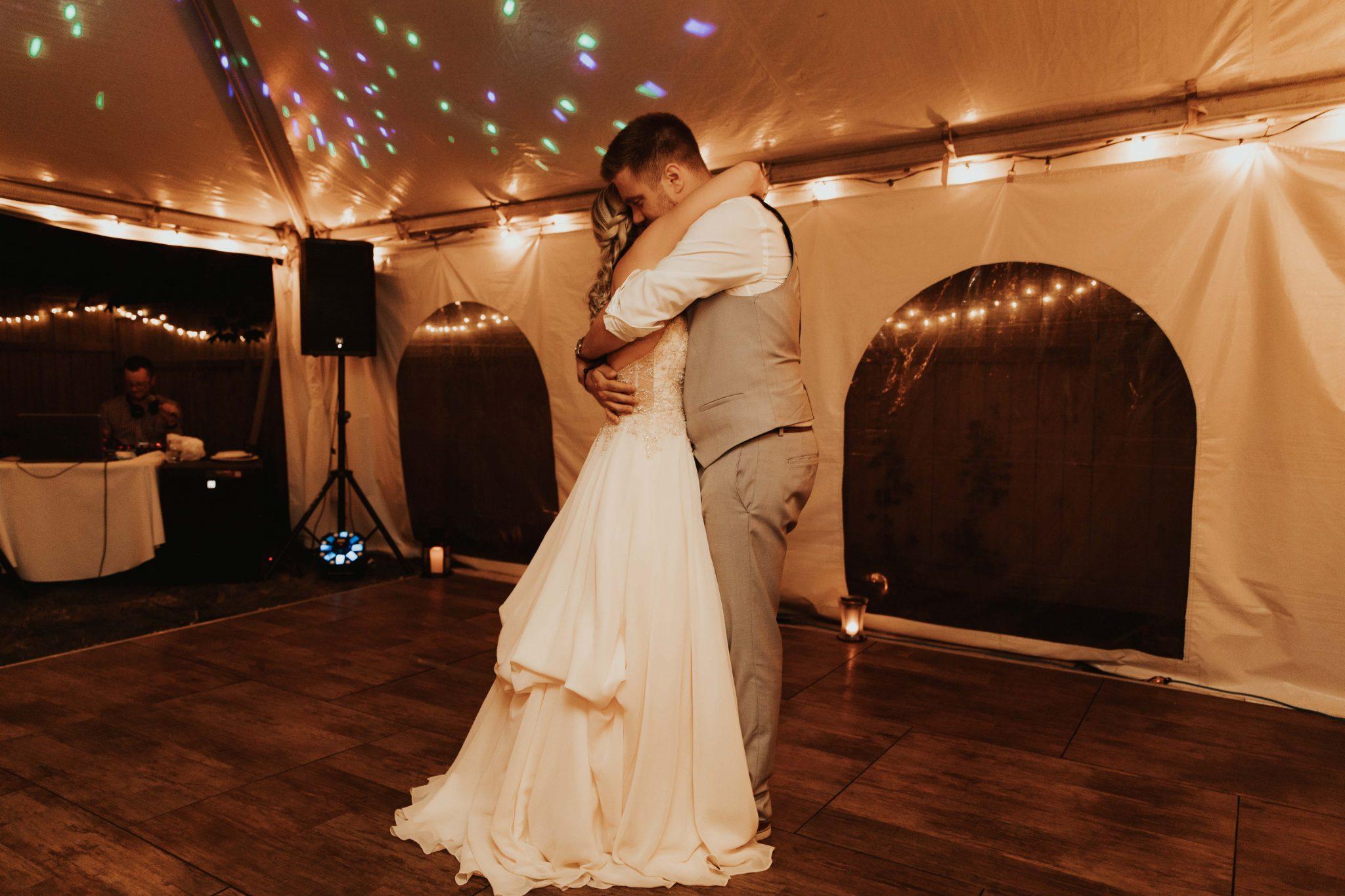 intimate backyard wedding reception