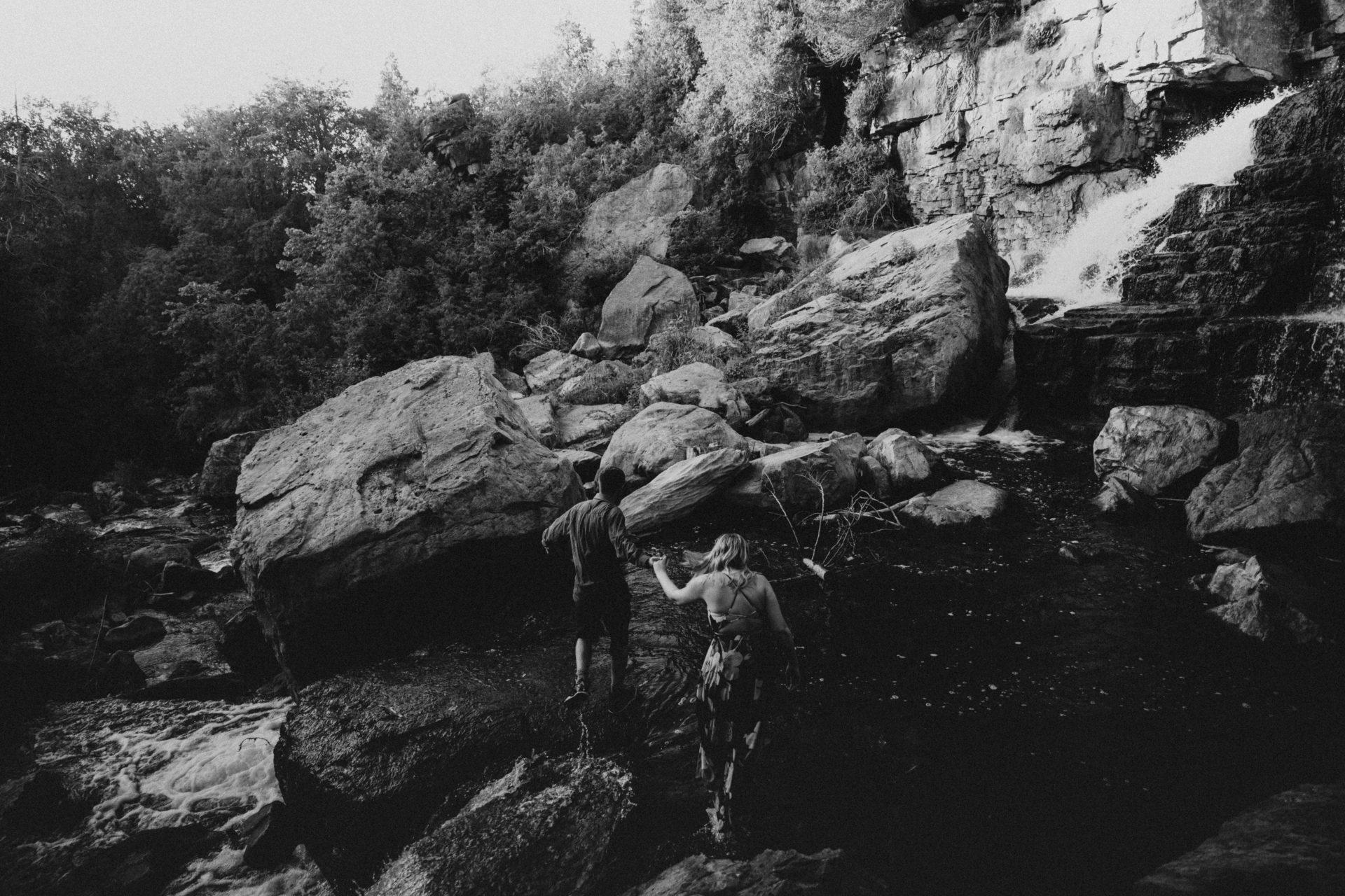 waterfall engagement photos Ontario