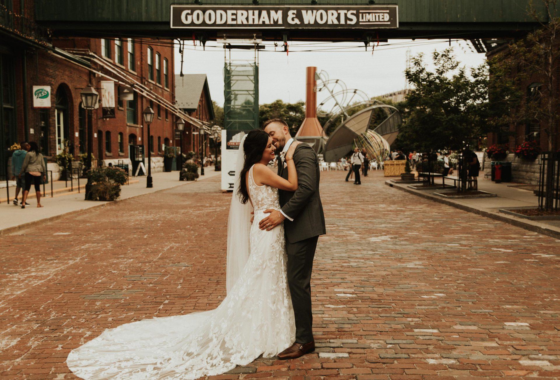 distillery district wedding portraits