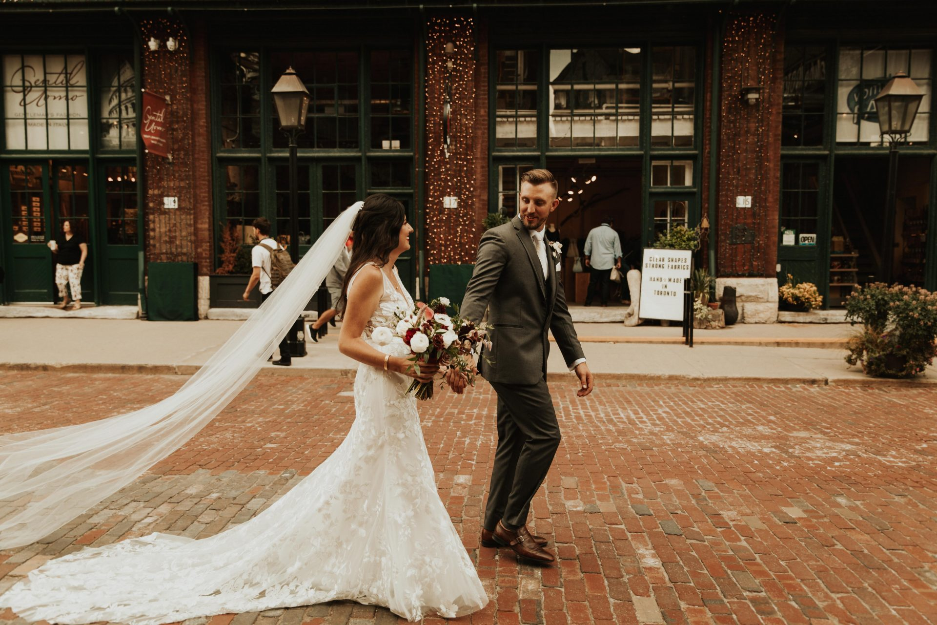 distillery district bride and groom portraits