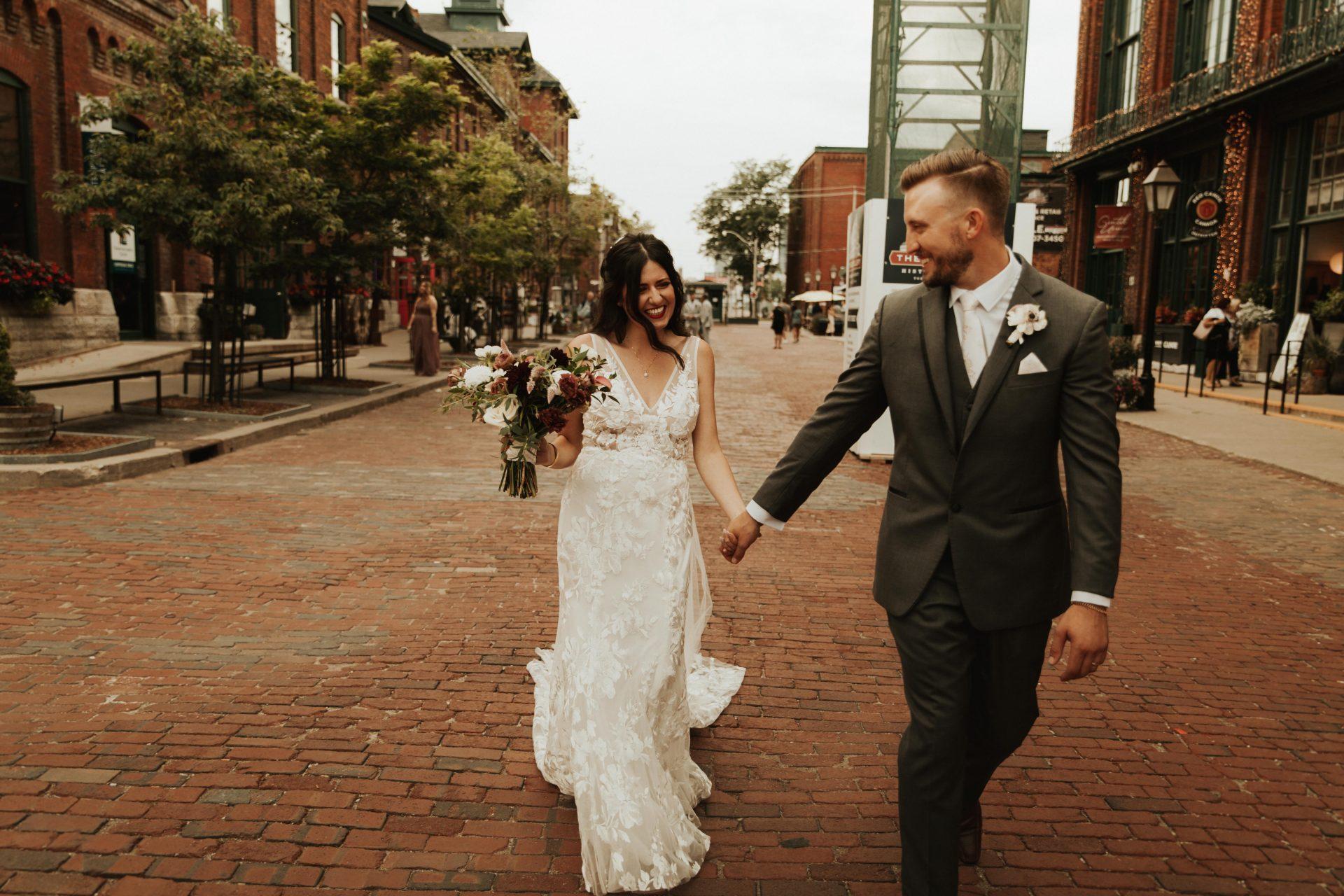 distillery district bride and groom portraits