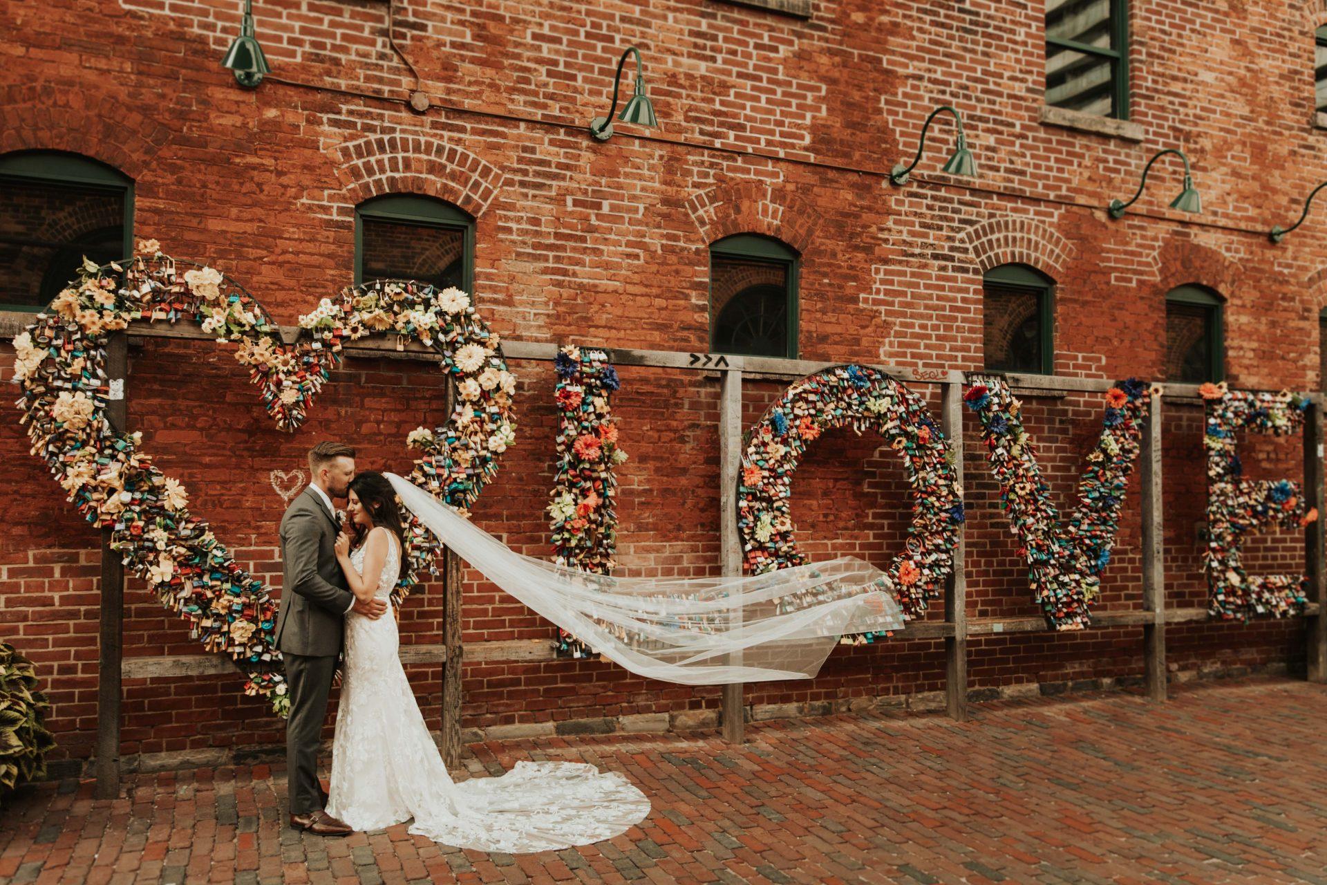 toronto distillery district love locks wedding photo