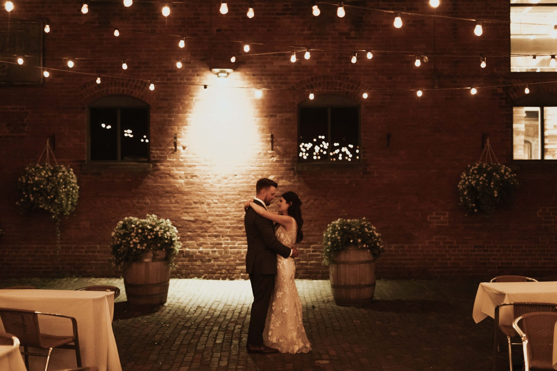 distillery district night bride and groom photos