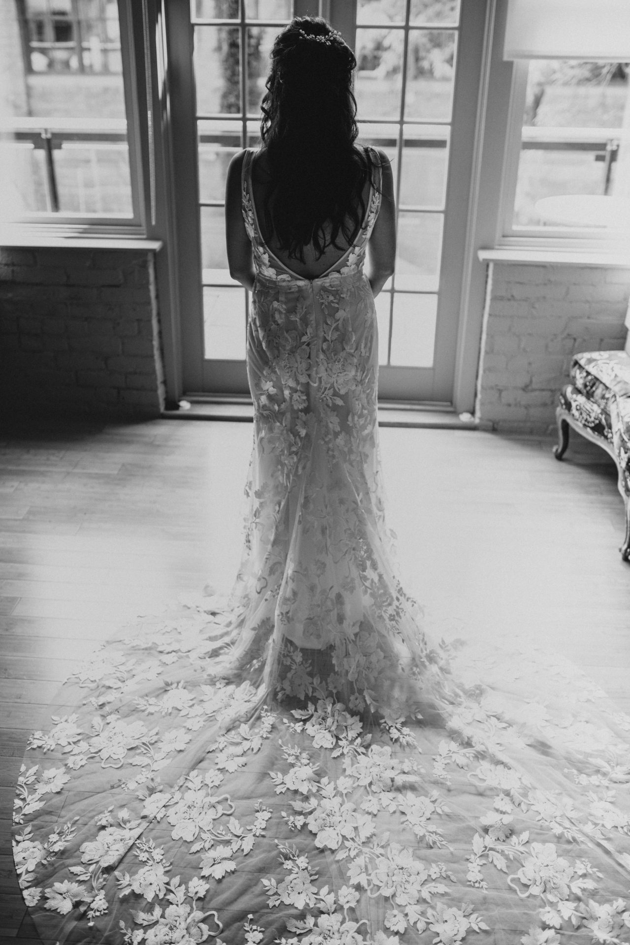 wedding dress from behind