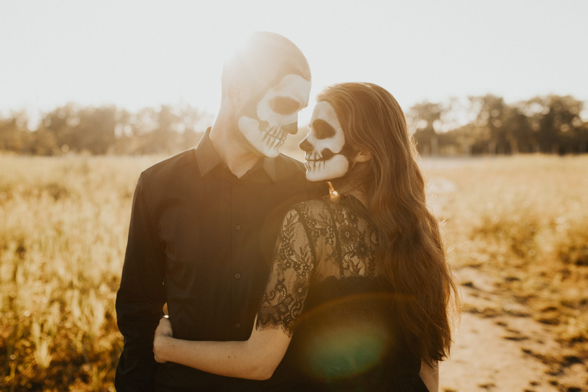 couple with skeleton makeup