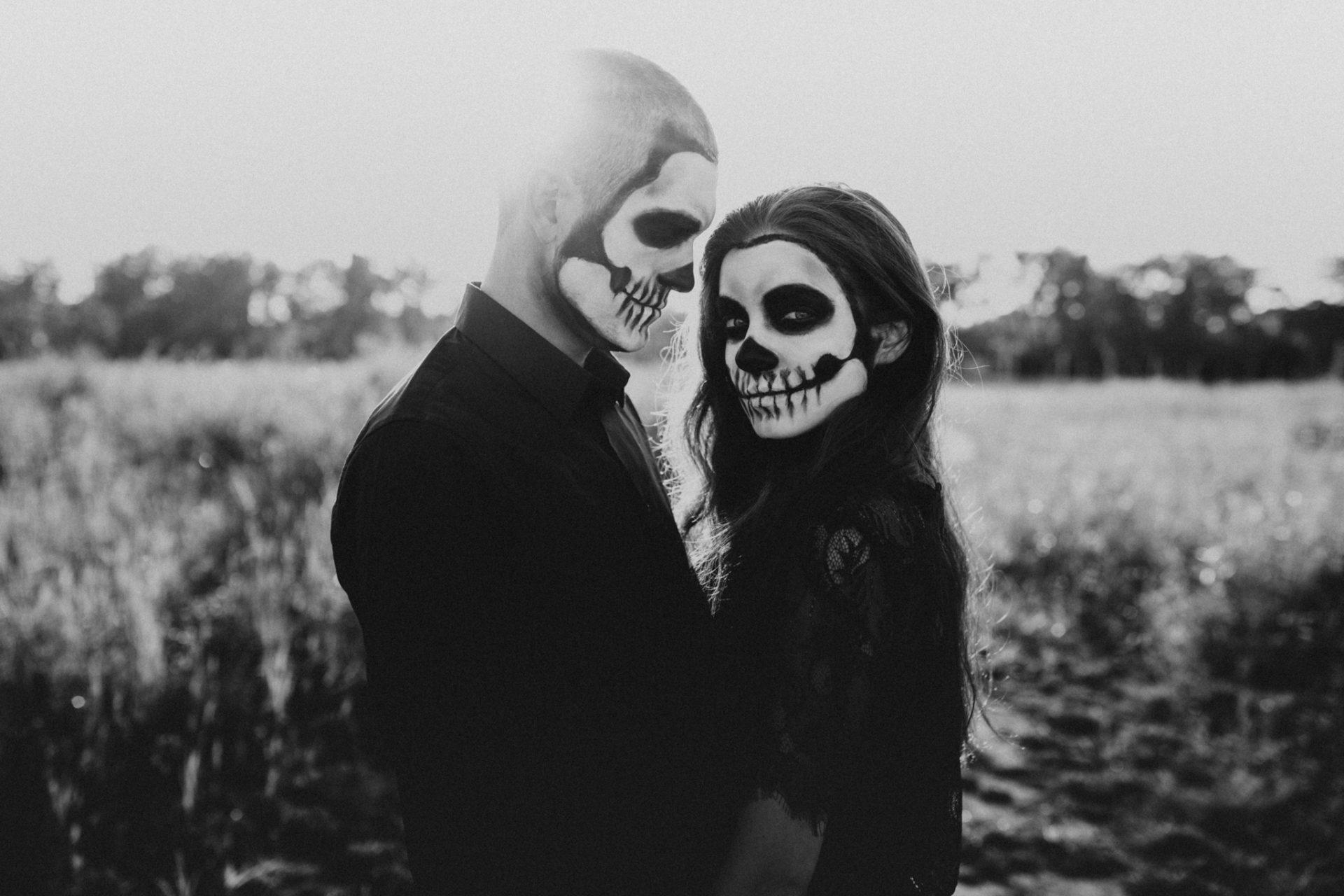 skeleton makeup on couple