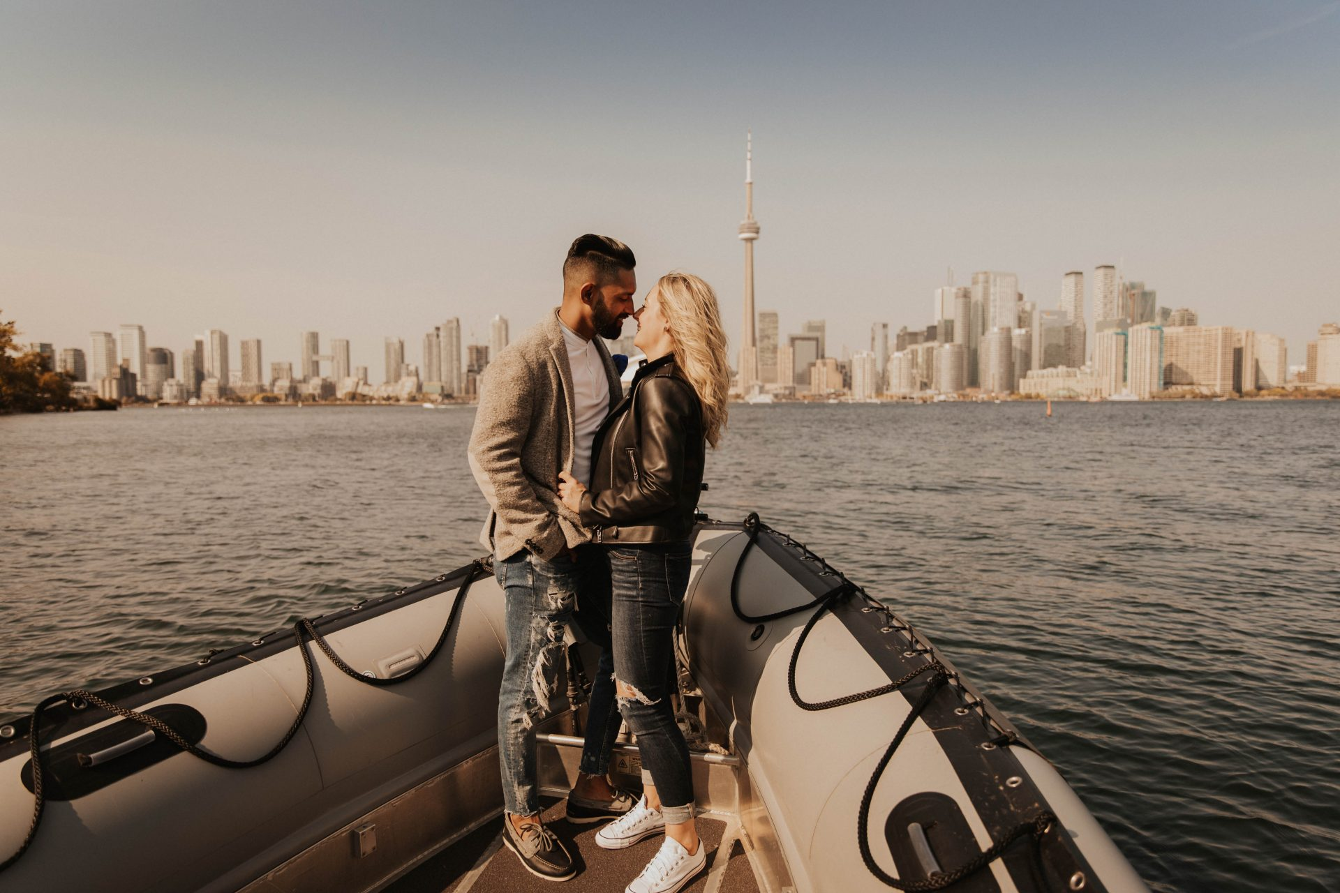 toronto engagement photos on boat