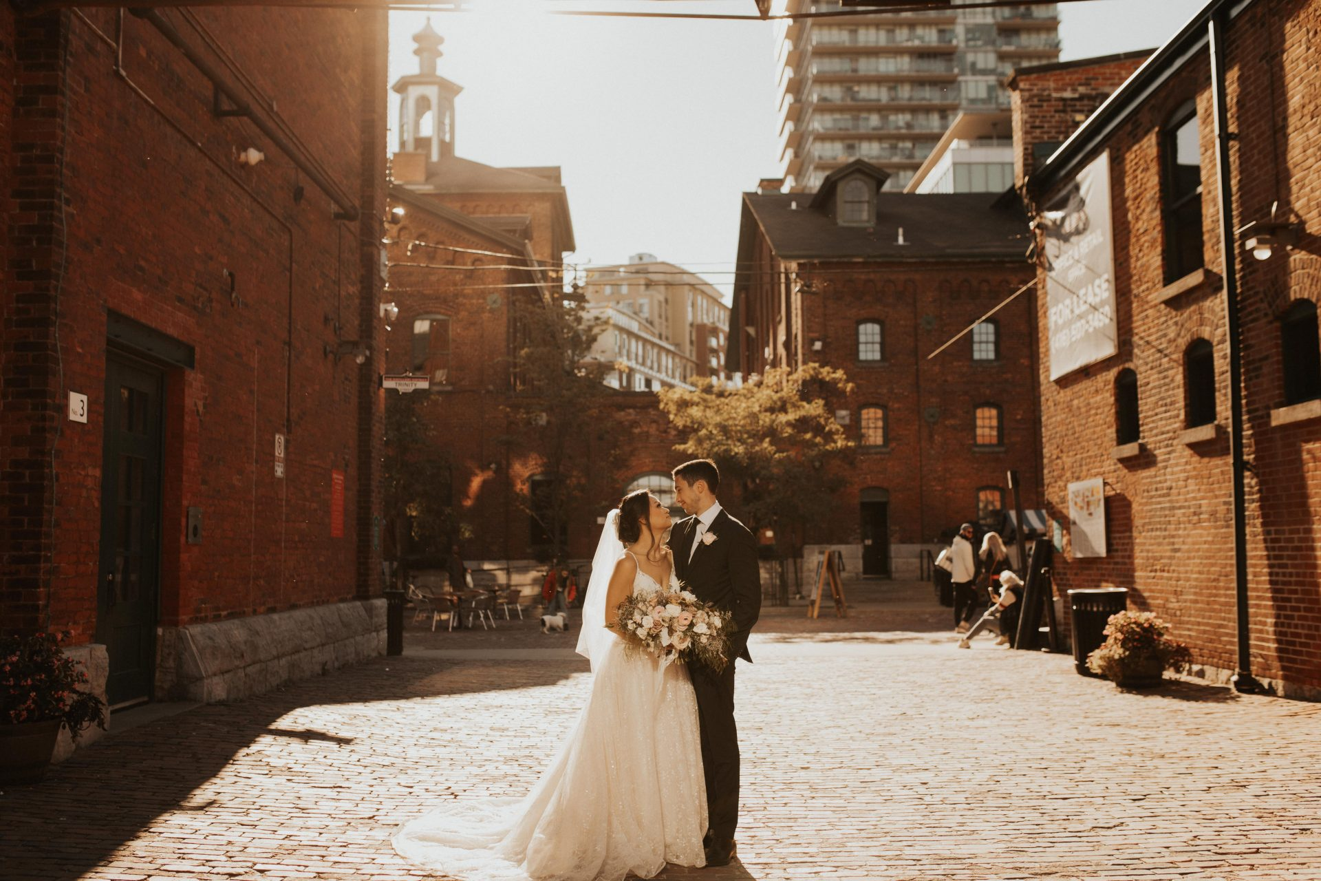 distillery district toronto wedding photos